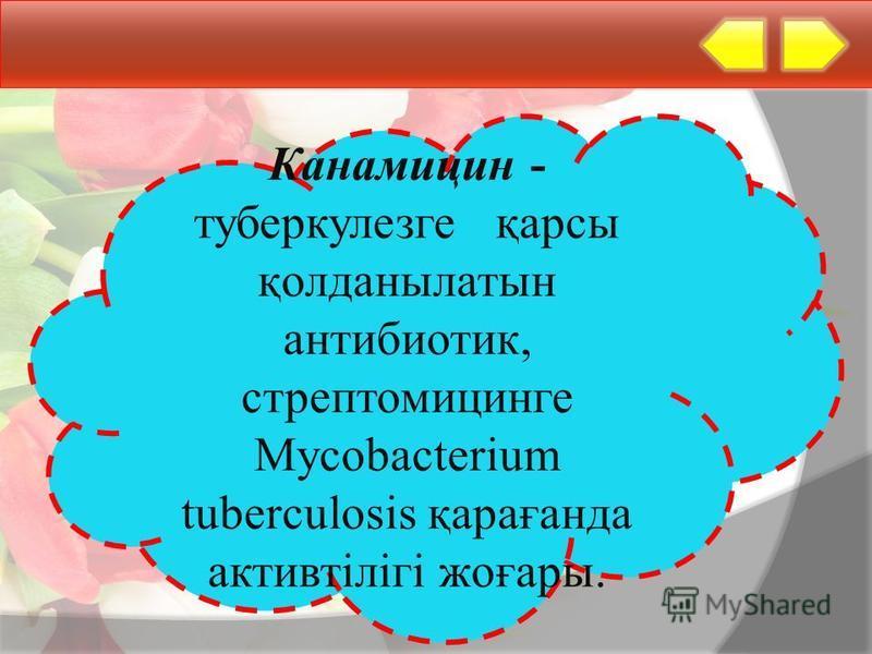 Канамицин - туберкулезге қарсы қолданылатын антибиотик, стрептомицинге Mycobacterium tuberculosis қарағанда активтілігі жоғары.