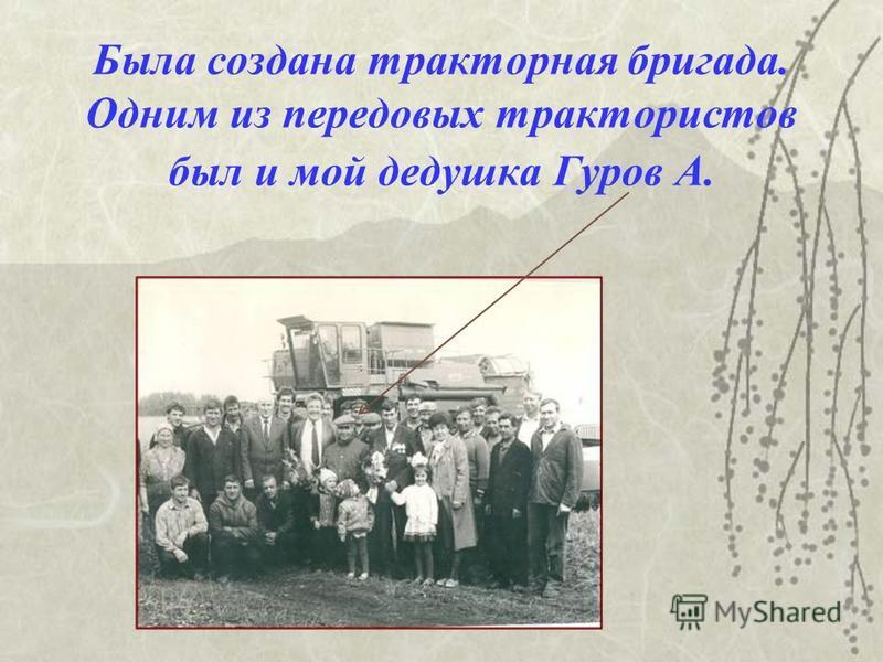 Была создана тракторная бригада. Одним из передовых трактористов был и мой дедушка Гуров А.