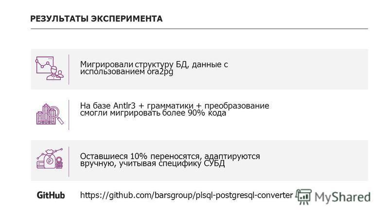 РЕЗУЛЬТАТЫ ЭКСПЕРИМЕНТА Мигрировали структуру БД, данные с использованием ora2pg На базе Antlr3 + грамматики + преобразование смогли мигрировать более 90% кода Оставшиеся 10% переносятся, адаптируются вручную, учитывая специфику СУБД https://github.c