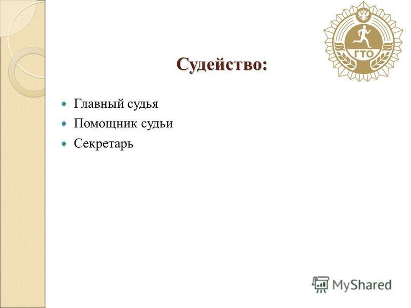 Судейство: Главный судья Помощник судьи Секретарь