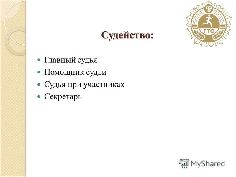 Судейство: Главный судья Помощник судьи Судья при участниках Секретарь