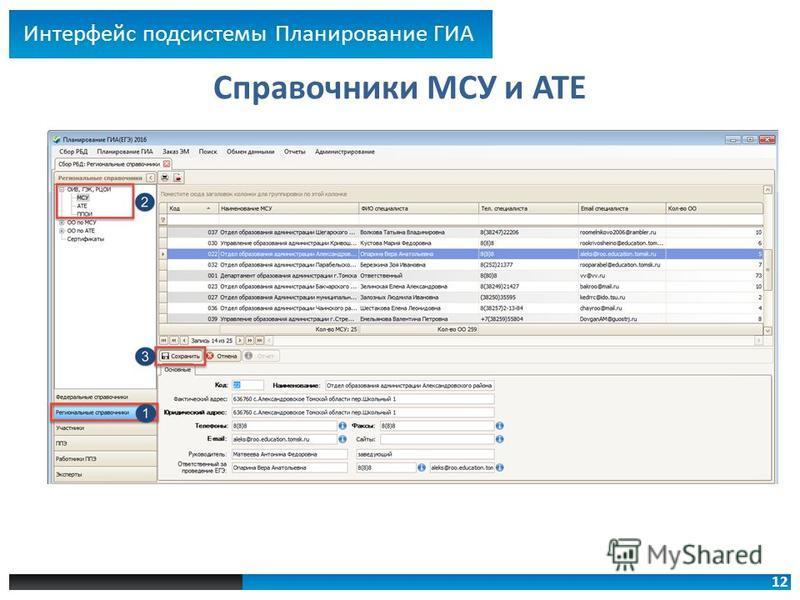 12 Справочники МСУ и АТЕ Интерфейс подсистемы Планирование ГИА