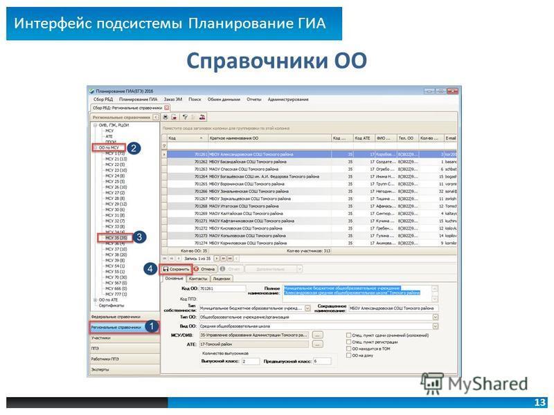 13 Справочники ОО Интерфейс подсистемы Планирование ГИА