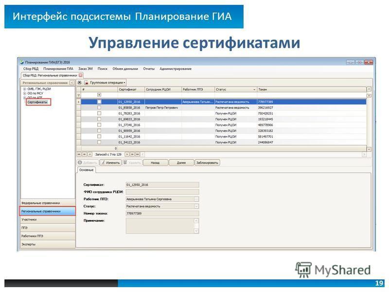 19 Управление сертификатами Интерфейс подсистемы Планирование ГИА