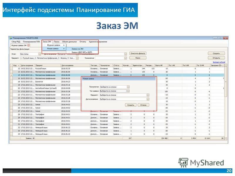 20 Заказ ЭМ Интерфейс подсистемы Планирование ГИА
