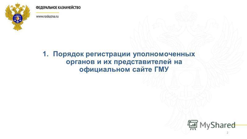2 1. Порядок регистрации уполномоченных органов и их представителей на официальном сайте ГМУ
