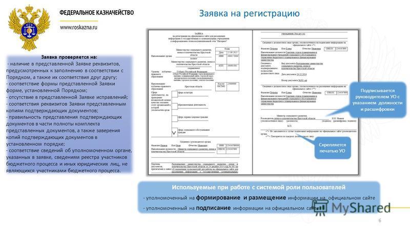 6 Заявка на регистрацию Заявка проверяется на: - наличие в представленной Заявке реквизитов, предусмотренных к заполнению в соответствии с Порядком, а также их соответствия друг другу; - соответствие формы представленной Заявки форме, установленной П