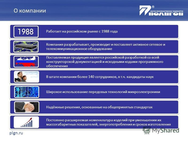 plgn.ru Работает на российском рынке с 1988 года Компания разрабатывает, производит и поставляет активное сетевое и телекоммуникационное оборудование Поставляемая продукция является российской разработкой со всей конструкторской документацией и исход
