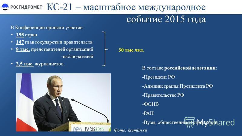 КС-21 – масштабное международное событие 2015 года В Конференции приняли участие: 195 стран 147 глав государств и правительств 8 тыс. представителей организаций -наблюдателей 2,5 тыс. журналистов. 30 тыс.чел. В составе российской делегации: -Президен