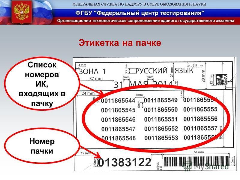 Список номеров ИК, входящих в пачку Номер пачки Этикетка на пачке