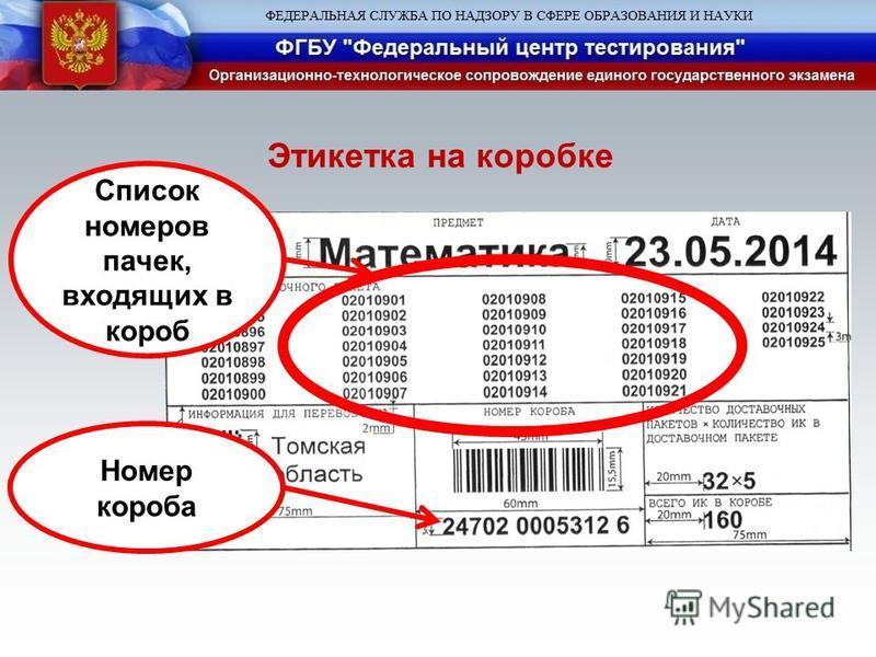 Список номеров пачек, входящих в короб Номер короба Этикетка на коробке