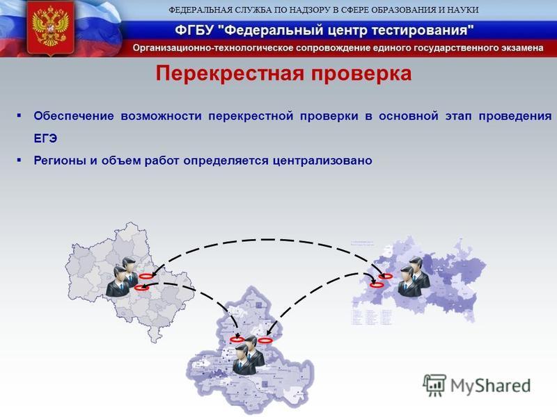 Перекрестная проверка Обеспечение возможности перекрестной проверки в основной этап проведения ЕГЭ Регионы и объем работ определяется централизовано