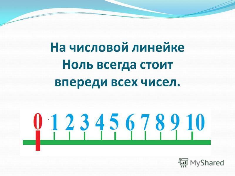 На числовой линейке Ноль всегда стоит впереди всех чисел.