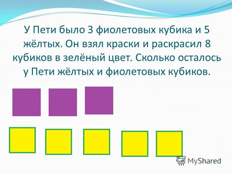 У Пети было 3 фиолетовых кубика и 5 жёлтых. Он взял краски и раскрасил 8 кубиков в зелёный цвет. Сколько осталось у Пети жёлтых и фиолетовых кубиков.