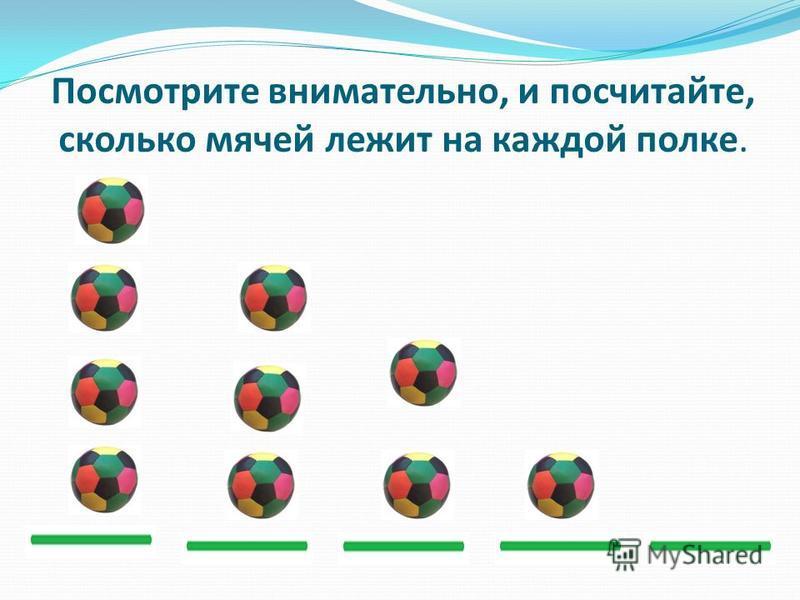 Посмотрите внимательно, и посчитайте, сколько мячей лежит на каждой полке.