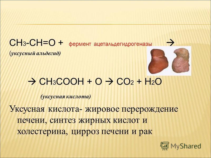 CH 3 -CH=O + фермент ацеталь дегидрогеназы ( уксусный альдегид) CH 3 COOH + O CO 2 + H 2 O (уксусная кислота) Уксусная кислота- жировое перерождение печени, синтез жирных кислот и холестерина, цирроз печени и рак