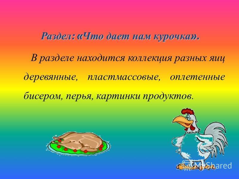 Раздел : « Что дает нам курочка ». В разделе находится коллекция разных яиц деревянные, пластмассовые, оплетенные бисером, перья, картинки продуктов.