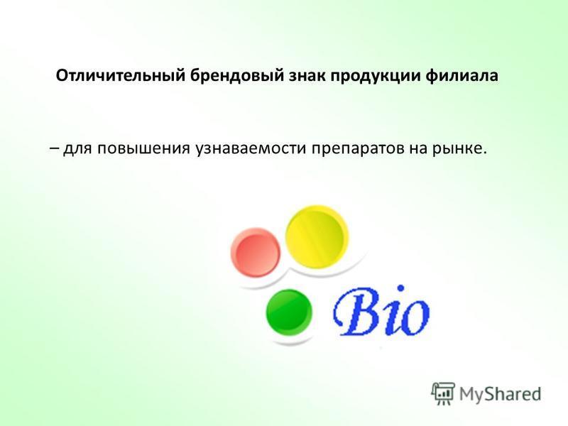 Отличительный брендовый знак продукции филиала – для повышения узнаваемости препаратов на рынке.