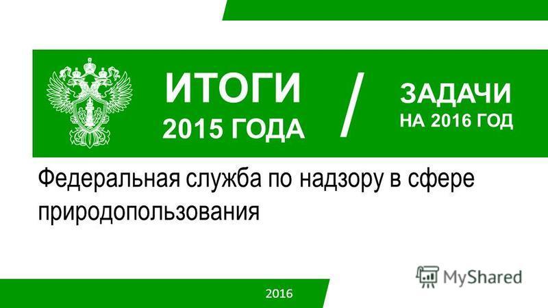 Федеральная служба по надзору в сфере природопользования ИТОГИ 2015 ГОДА / ЗАДАЧИ НА 2016 ГОД 2016