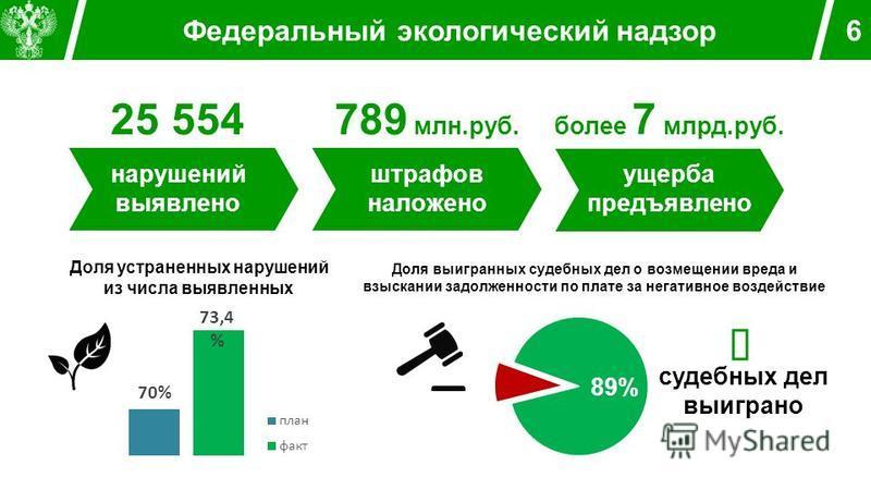 Федеральный экологический надзор 6 25 554 нарушений выявлено 789 млн.руб. штрафов наложено более 7 млрд.руб. ущерба предъявлено Доля устраненных нарушений из числа выявленных Доля выигранных судебных дел о возмещении вреда и взыскании задолженности п