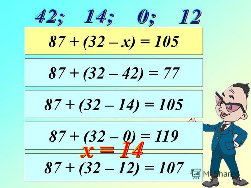87 + (32 – 14) = 105 87 + (32 – 42) = 77 87 + (32 – х) = 105 87 + (32 – 0) = 119 87 + (32 – 12) = 107