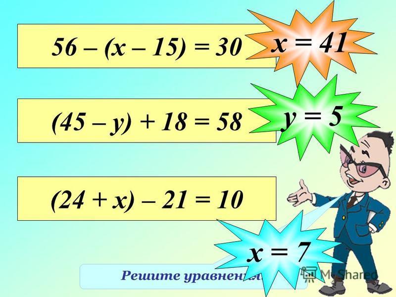 Решите уравнения. 56 – (х – 15) = 30 х = 41 (45 – у) + 18 = 58 у = 5 (24 + х) – 21 = 10 х = 7