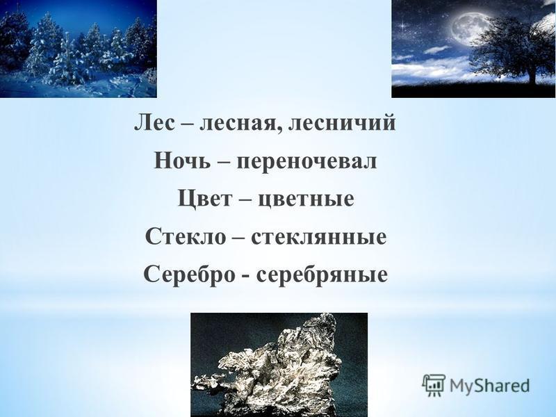 Лес – лесная, лесничий Ночь – переночевал Цвет – цветные Стекло – стеклянные Серебро - серебряные