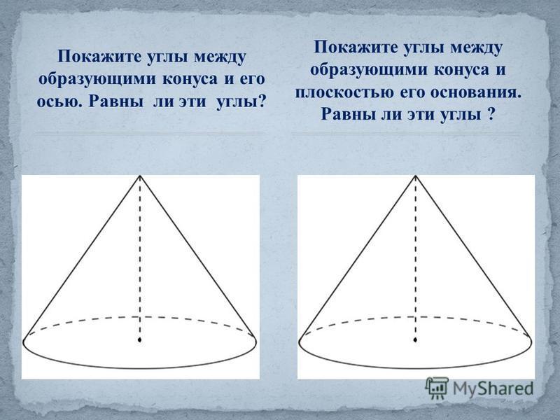 Покажите углы между образующими конуса и его осью. Равны ли эти углы? Покажите углы между образующими конуса и плоскостью его основания. Равны ли эти углы ?