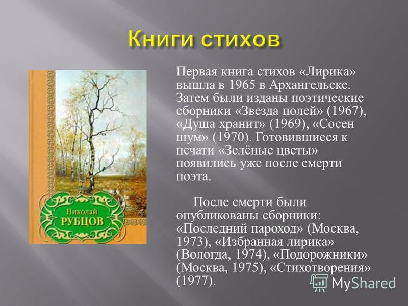 Первая книга стихов « Лирика » вышла в 1965 в Архангельске. Затем были изданы поэтические сборники « Звезда полей » (1967), « Душа хранит » (1969), « Сосен шум » (1970). Готовившиеся к печати « Зелёные цветы » появились уже после смерти поэта. После