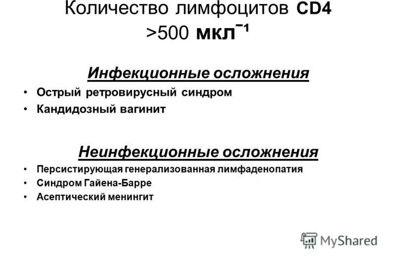 Количество лимфоцитов CD4 >500 мклˉ¹ Инфекционные осложнения Острый ретровирусный синдром Кандидозный вагинит Неинфекционные осложнения Персистирующая генерализованная лимфаденопатия Синдром Гайена-Барре Асептический менингит