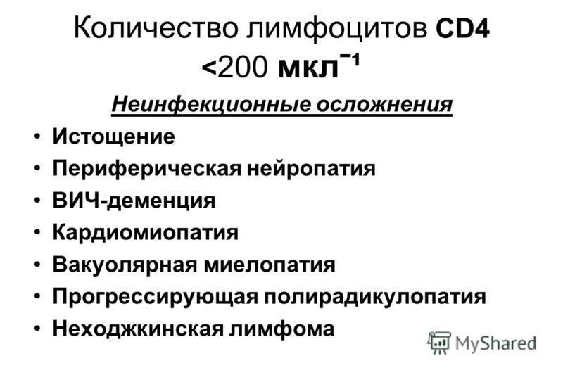 Количество лимфоцитов CD4 < 200 мклˉ¹ Неинфекционные осложнения Истощение Периферическая нейропатия ВИЧ-деменция Кардиомиопатия Вакуолярная миелопатия Прогрессирующая полирадикулопатия Неходжкинская лимфома
