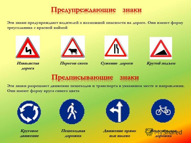 Эти знаки предупреждают водителей о возможной опасности на дороге. Они имеют форму треугольника с красной каймой Извилистая дорога Перегон скота Сужение дороги Крутой подъем Эти знаки разрешают движение пешеходов и транспорта в указанном месте и напр