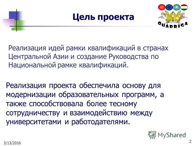 2 Цель проекта Реализация идей рамки квалификаций в странах Центральной Азии и создание Руководства по Национальной рамке квалификаций. Реализация проекта обеспечила основу для модернизации образовательных программ, а также способствовала более тесно