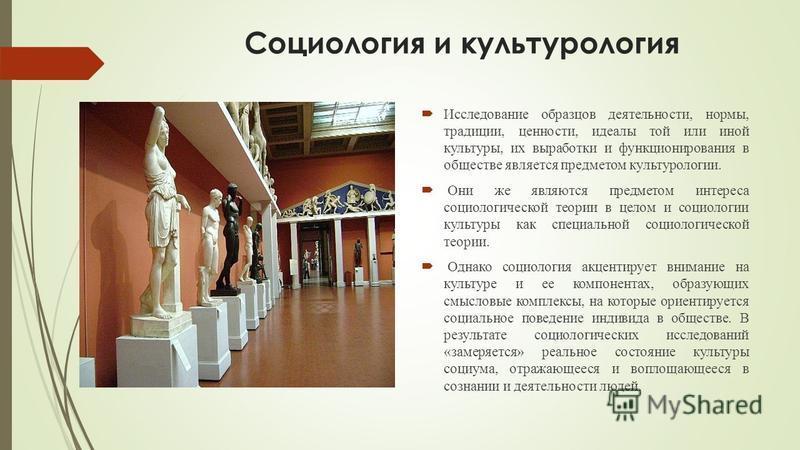 Социология и культурология Исследование образцов деятельности, нормы, традиции, ценности, идеалы той или иной культуры, их выработки и функционирования в обществе является предметом культурологии. Они же являются предметом интереса социологической те