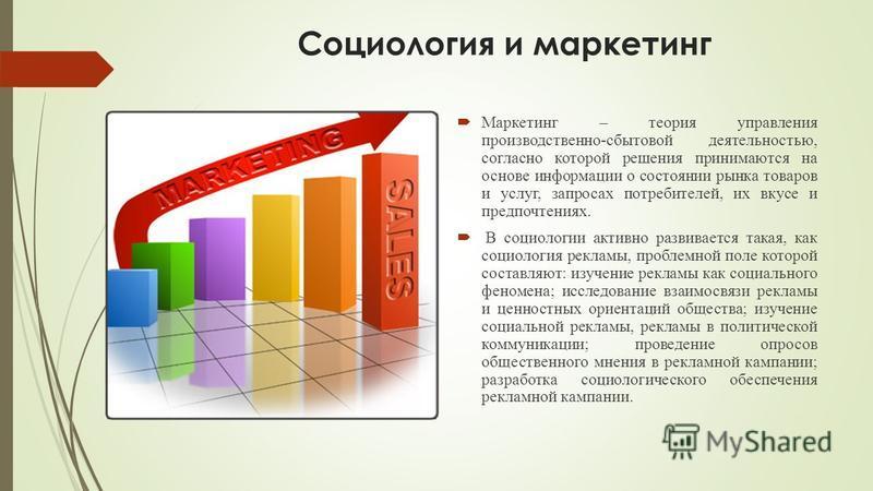 Социология и маркетинг Маркетинг – теория управления производственно-сбытовой деятельностью, согласно которой решения принимаются на основе информации о состоянии рынка товаров и услуг, запросах потребителей, их вкусе и предпочтениях. В социологии ак