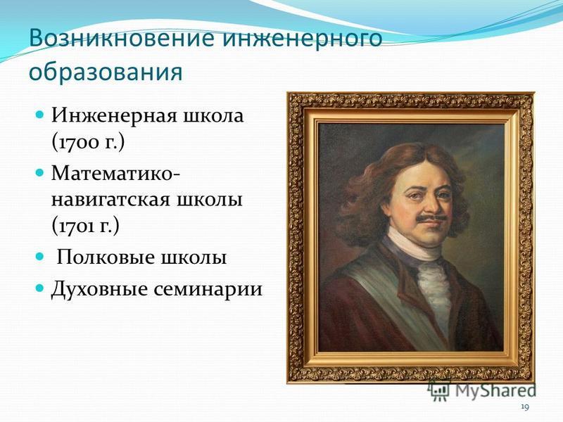 Возникновение инженерного образования Инженерная школа (1700 г.) Математико- навигатская школы (1701 г.) Полковые школы Духовные семинарии 19