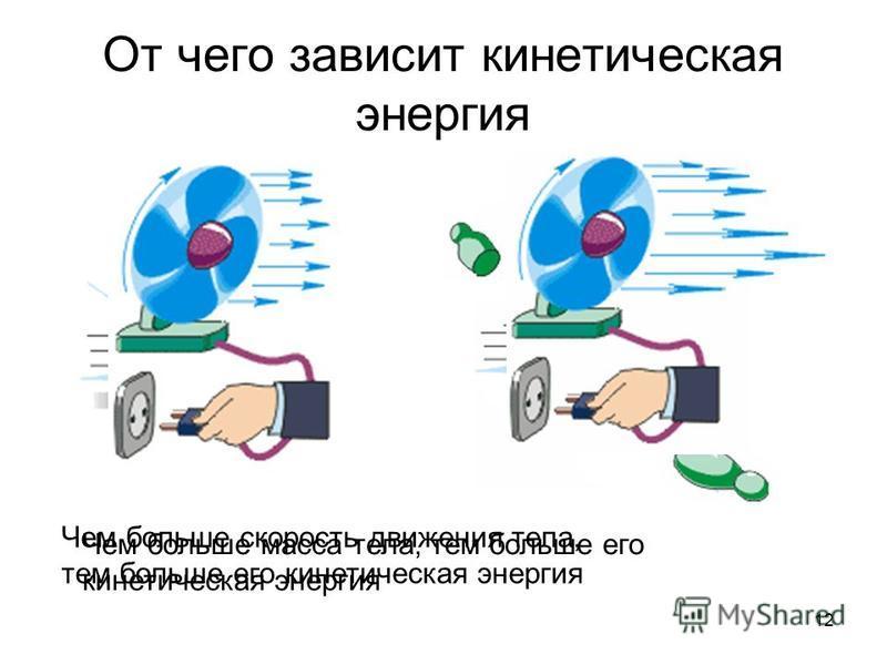12 От чего зависит кинетическая энергия Чем больше масса тела, тем больше его кинетическая энергия Чем больше скорость движения тела, тем больше его кинетическая энергия
