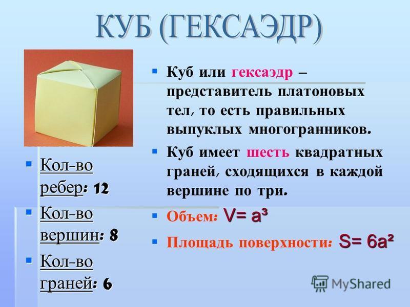 Куб или гексаэдр – представитель платоновых тел, то есть правильных выпуклых многогранников. Куб имеет шесть квадратных граней, сходящихся в каждой вершине по три. V= a³ Объем : V= a³ S= 6a² Площадь поверхности : S= 6a² Кол - во ребер : 12 Кол - во р