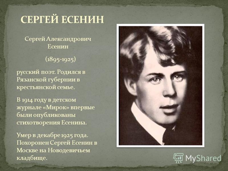 Сергей Александрович Есенин (1895-1925) русский поэт. Родился в Рязанской губернии в крестьянской семье. В 1914 году в детском журнале «Мирок» впервые были опубликованы стихотворения Есенина. Умер в декабре 1925 года. Похоронен Сергей Есенин в Москве