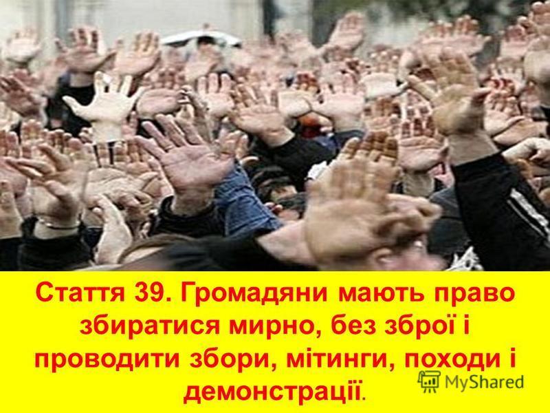 Стаття 39. Громадяни мають право збиратися мирно, без зброї і проводити збори, мітинги, походи і демонстрації.