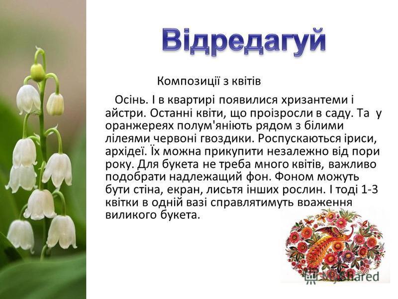 Композиції з квітів Осінь. І в квартирі появилися хризантеми і айстри. Останні квіти, що проізросли в саду. Та у оранжереях полум'яніють рядом з білими лілеями червоні гвоздики. Роспускаються іриси, архідеї. Їх можна прикупити незалежно від пори року