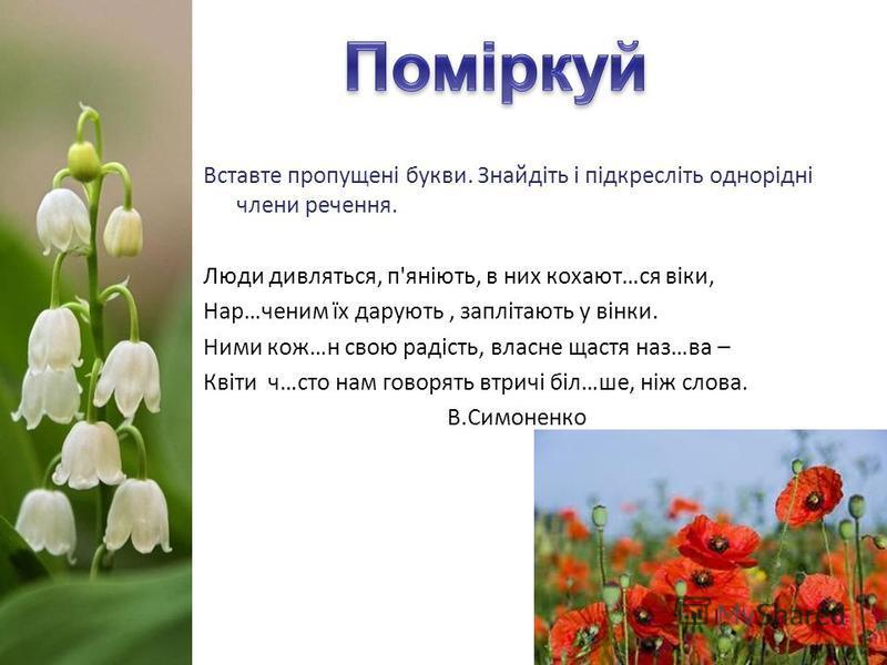 Вставте пропущені букви. Знайдіть і підкресліть однорідні члени речення. Люди дивляться, п'яніють, в них кохают…ся віки, Нар…ченим їх дарують, заплітають у вінки. Ними кож…н свою радість, власне щастя наз…ва – Квіти ч…сто нам говорять втричі біл…ше,