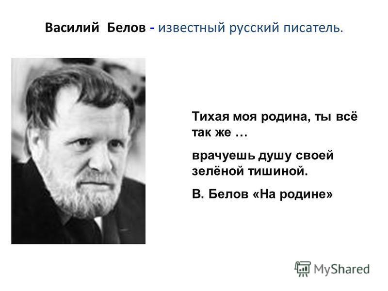 Василий Белов - известный русский писатель. Тихая моя родина, ты всё так же … врачуешь душу своей зелёной тишиной. В. Белов «На родине»