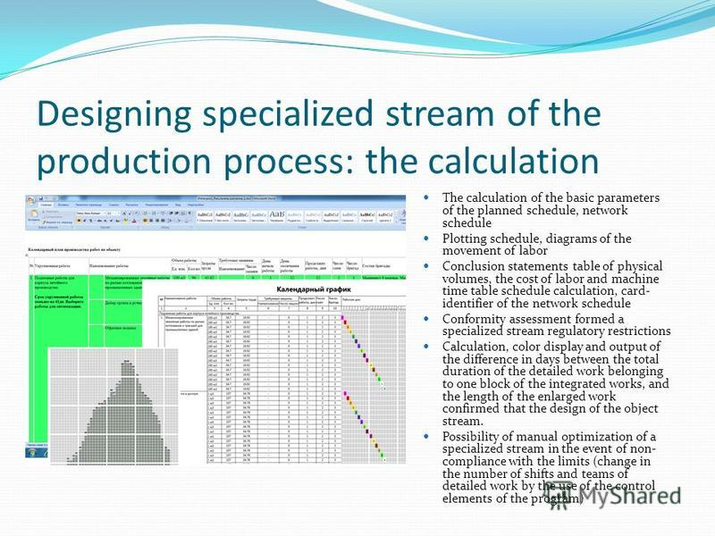 Designing specialized stream of the production process: the calculation The calculation of the basic parameters of the planned schedule, network schedule Plotting schedule, diagrams of the movement of labor Conclusion statements table of physical vol