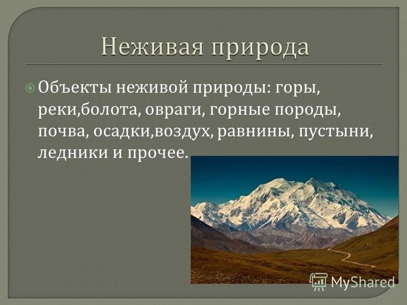 Объекты неживой природы : горы, реки, болота, овраги, горные породы, почва, осадки, воздух, равнины, пустыни, ледники и прочее.