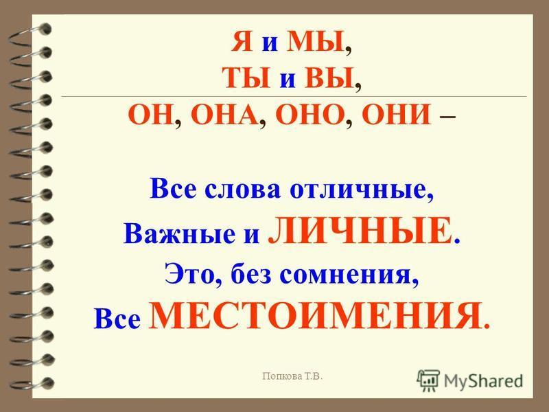 Я и МЫ, ТЫ и ВЫ, ОН, ОНА, ОНО, ОНИ – Все слова отличные, Важные и ЛИЧНЫЕ. Это, без сомнения, Все МЕСТОИМЕНИЯ. Попкова Т.В.