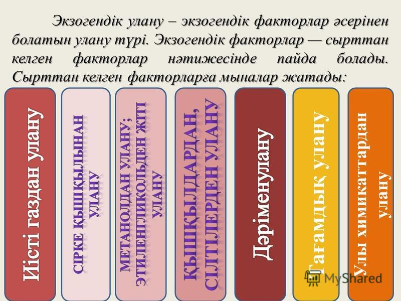 Экзогендік улану – экзогендік факторлар әсерінен болатын улану түрі. Экзогендік факторлар сырттан келген факторлар нәтижесінде пайда болады. Сырттан келген факторларға мыналар жатады: Улы химикаттардан улану Тағамдық улану