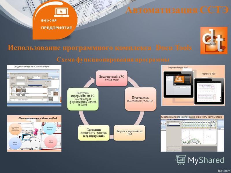 Автоматизация ССТЭ Использование программного комплекса Docu Tools Ввод чертежей в РС компьютер Подготовка к экспертному осмотру Загрузка чертежей на iPad Проведение экспертного осмотра, сбор информации. Выгрузка информации на РС компьютер и формиров