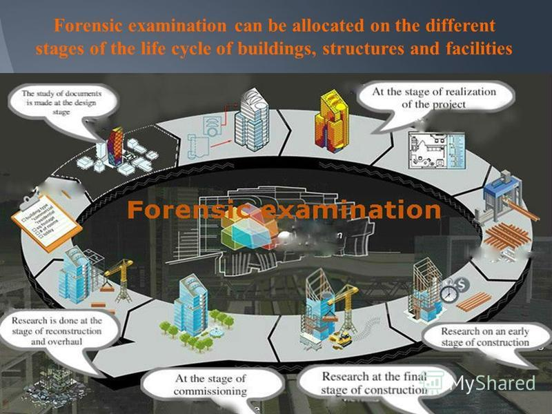 Forensic examination can be allocated on the different stages of the life cycle of buildings, structures and facilities