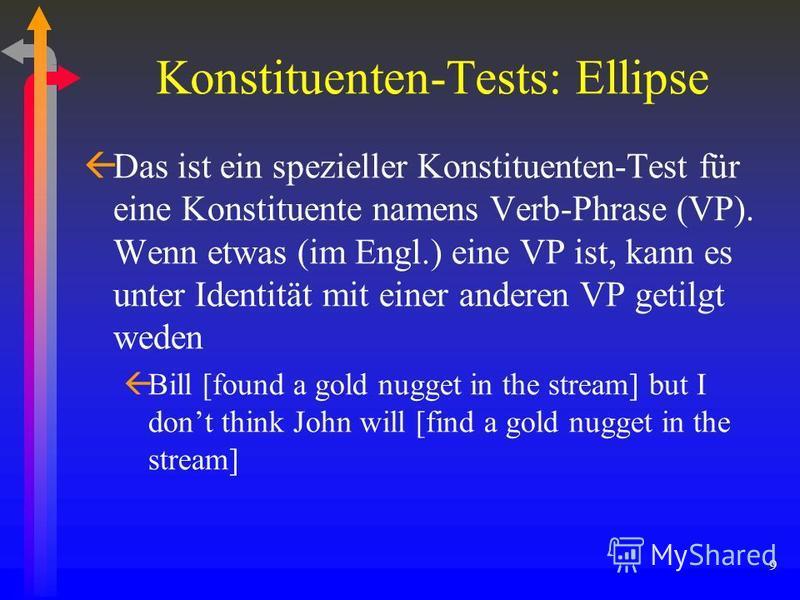9 Konstituenten-Tests: Ellipse ßDas ist ein spezieller Konstituenten-Test für eine Konstituente namens Verb-Phrase (VP). Wenn etwas (im Engl.) eine VP ist, kann es unter Identität mit einer anderen VP getilgt weden ßBill [found a gold nugget in the s